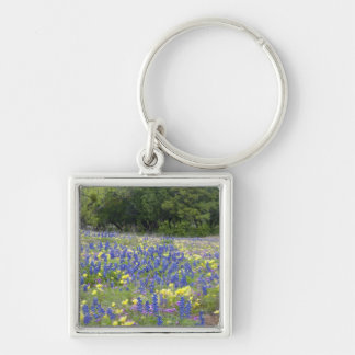 Bluebonnets, primrose, and phlox Silver-Colored square keychain