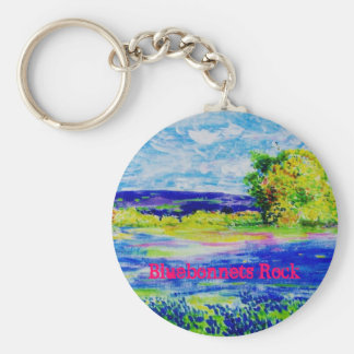 Bluebonnets Rock Basic Round Button Keychain