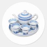 BlueChinaTeapot071410 Round Stickers