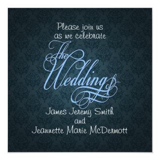 BlueDamask Elegant Wedding Swashes Invitation Card