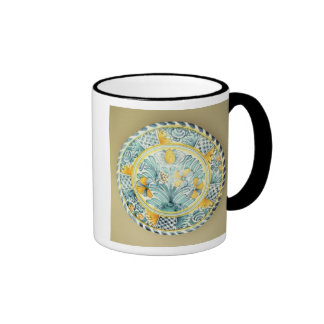 Bluedash' Delftware charger, Lambeth pottery Ringer Coffee Mug