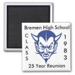 BlueDevil, CLASS, 1983, Bremen High School, 25 ... 2 Inch Square Magnet