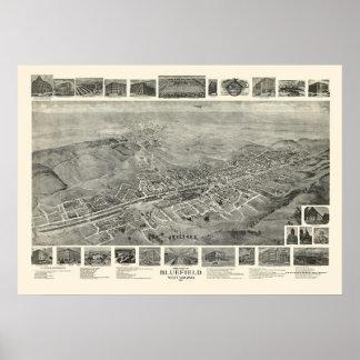 Bluefield, mapa panorámico de WV - 1911 Póster