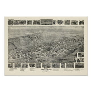 Bluefield, WV Panoramic Map - 1911 Posters