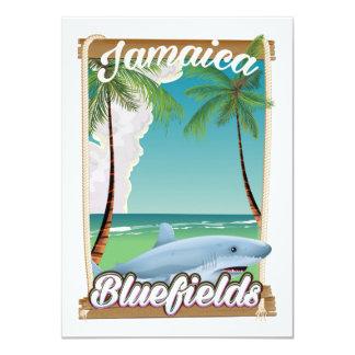 Bluefields, Jamaica beach vacation poster. Card