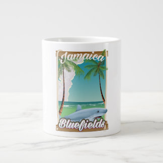 Bluefields, Jamaica beach vacation poster. Large Coffee Mug