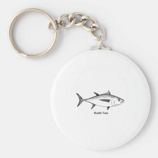 Bluefin Tuna Line Art Logo Basic Round Button Keychain