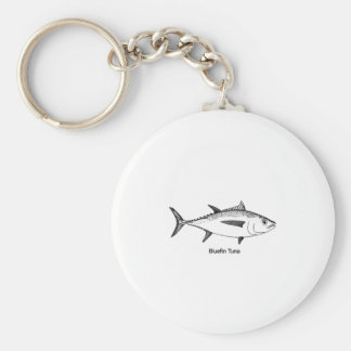 Bluefin Tuna Line Art Logo Keychain