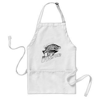 Bluegill fish on. black adult apron