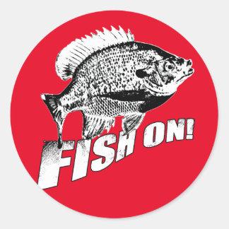 Bluegill fish on. black classic round sticker