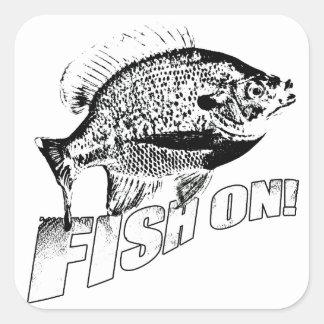 Bluegill fish on. black square sticker