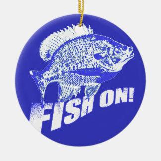 Bluegill fish on blue ceramic ornament