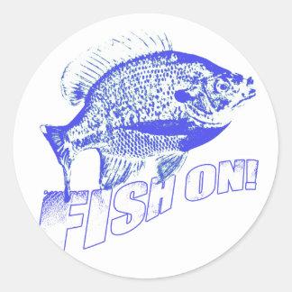 Bluegill fish on blue classic round sticker