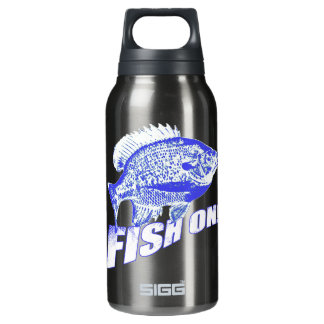 Bluegill fish on blue insulated water bottle