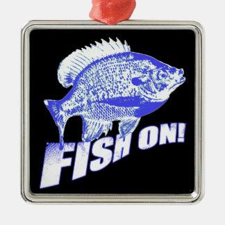 Bluegill fish on blue metal ornament