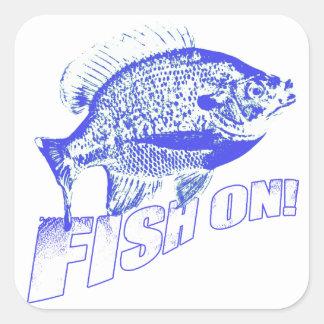 Bluegill fish on blue square sticker