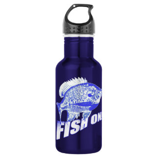 Bluegill fish on blue stainless steel water bottle