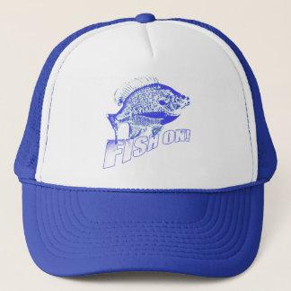 Bluegill fish on blue trucker hat
