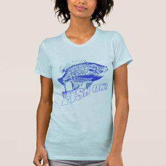 Bluegill fish on blue t-shirts