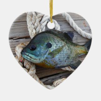 Bluegill fish on dock and rope ceramic ornament