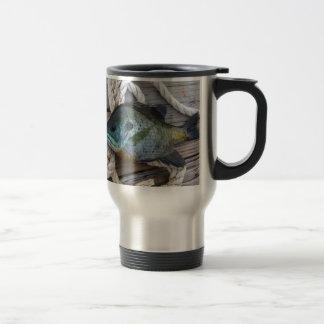 Bluegill fish on dock and rope travel mug