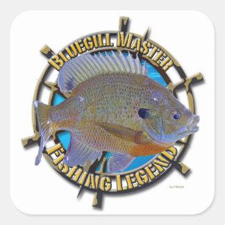 Bluegill fishing legend square sticker