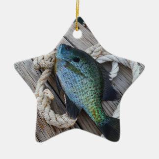 bluegill on dock ceramic ornament