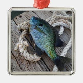 bluegill on dock metal ornament