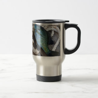 bluegill on dock travel mug