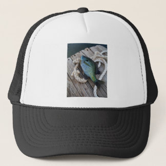 bluegill on dock trucker hat