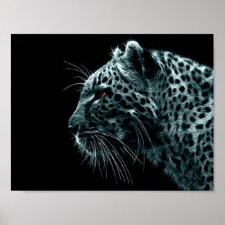 bluegooseexpress leopard poster blue