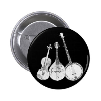 Bluegrass Band B&W Pinback Button