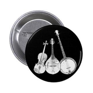 Bluegrass Band B&W Pinback Button
