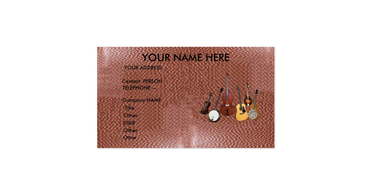 Bluegrass band business card zazzle for Band business cards