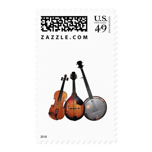 Bluegrass Band Cartoon Stamp
