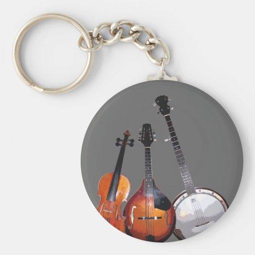 Bluegrass Band Filtered Basic Round Button Keychain