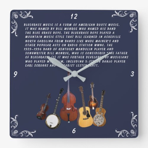 Bluegrass Band Square Wall Clock