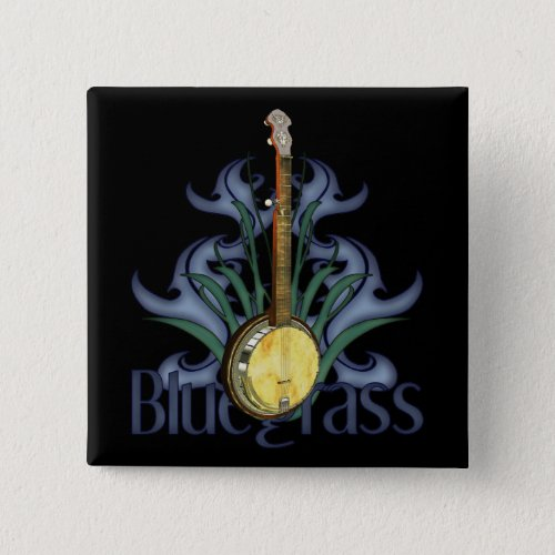 Colorful Blue and Green Bluegrass Banjo Design 2-inch Square Button