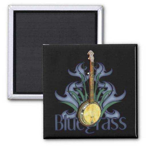 Bluegrass Banjo Design 2-inch Square Refrigerator Magnet