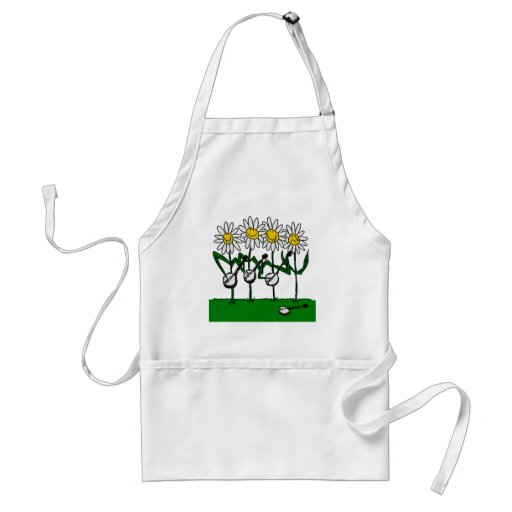Bluegrass Banjo Daisy Flowers Adult Apron