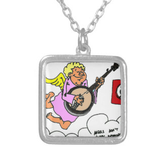 Bluegrass Banjo Humor Silver Plated Necklace