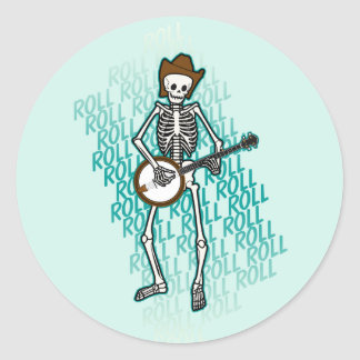 Bluegrass Banjo Skeleton Classic Round Sticker
