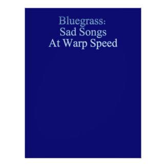 """Bluegrass: Canciones tristes a la velocidad de la  Folleto 8.5"""" X 11"""""""