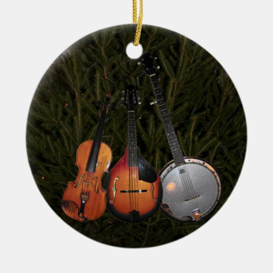 bluegrass christmas tree ceramic ornament - Bluegrass Christmas Music