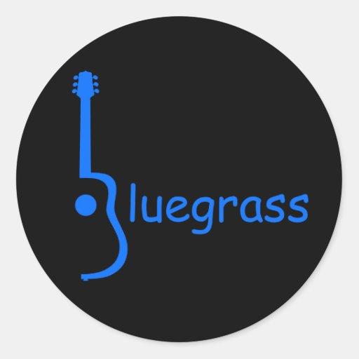 Bluegrass de la guitarra pegatina redonda