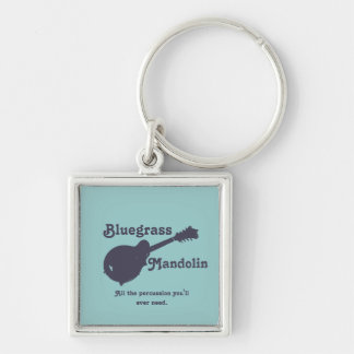 Bluegrass Mandolin - All the Percussion You Need Silver-Colored Square Keychain