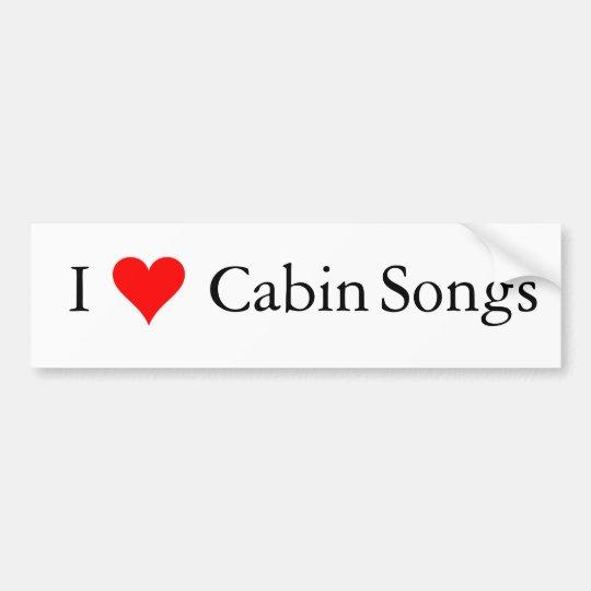 Bluegrass Music: I (heart) Cabin Songs Bumper Sticker