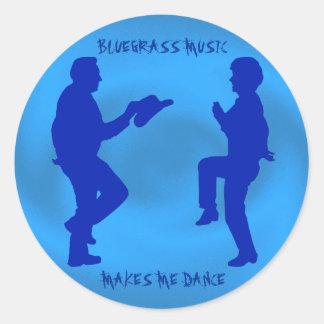 BLUEGRASS MUSIC MAKES ME DANCE-STICKER CLASSIC ROUND STICKER