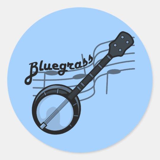 Bluegrass music with banjo classic round sticker