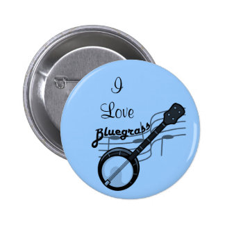 Bluegrass music with banjo pinback button